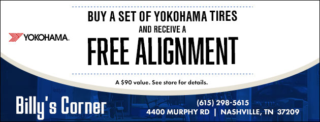 Buy a set of Yokohama tires and receive a free alignment ($90 value)