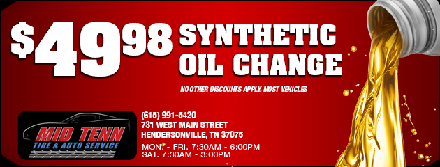 $49.98 Synthetic Oil change