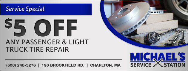 $5 Off Any Passenger and Light Truck Tire Repair Special