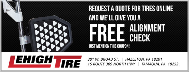 Request a quote on tire online Get a free alignment check!
