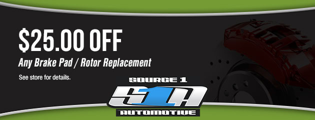 $25.00 Off Brake Pad/Rotor Replacement Coupon