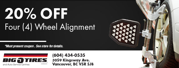 20% Off Four (4) Wheel Alignment