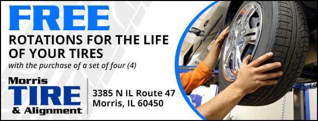 FREE Rotations for the life of your tires. With the purchase of a set of four