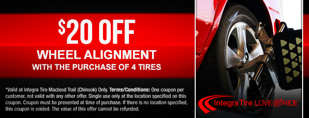 20% Off wheel alignment with the purchase of 4 tires