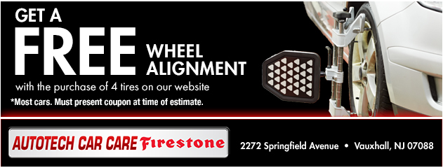 Get a FREE wheel alignment with the purchase of 4 tires on our website