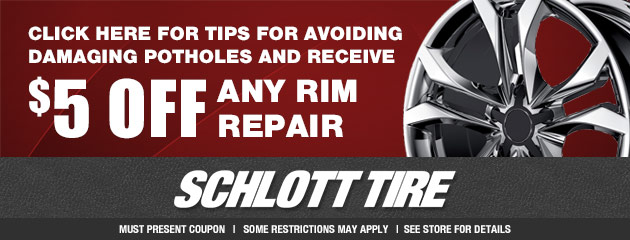 Tips for avoiding damaging potholes, receive $5 OFF any rim repair