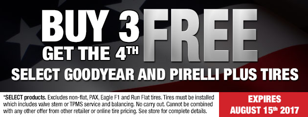 Buy 3 get the 4th free on all Goodyear & Pirelli Plus tires!