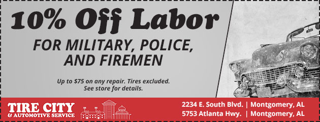 10% Off Labor for Military, Police, and Firemen