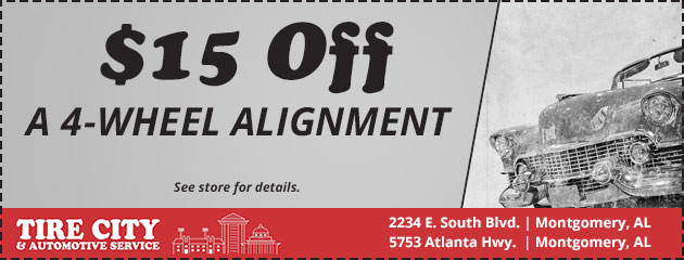 $15 Off a 4-Wheel Alignment
