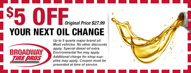 Save $5 on your next Oil Change Service