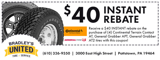 $40 INSTANT rebate on the purchase of (4) Select Continental Tires