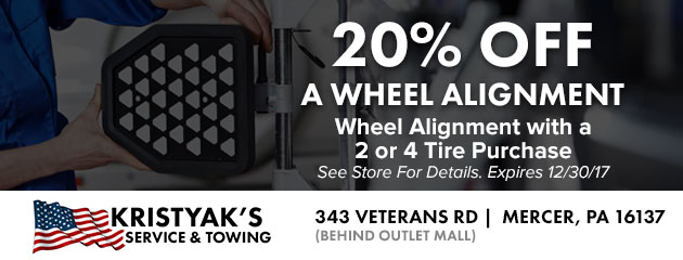20% Off a Wheel Alignment with a 2 or 4 Tire Purchase