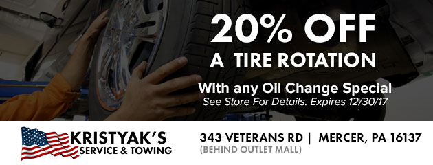 50% Off a Tire Rotation with any Oil Change Special