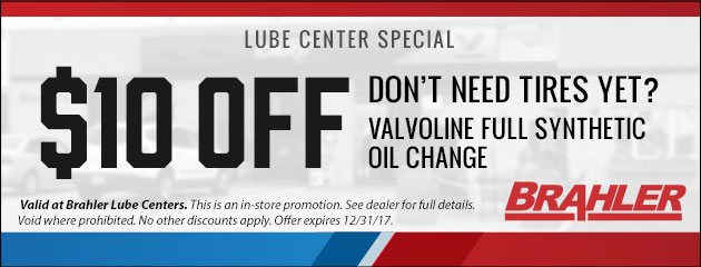 $10 Off Valvoline Full Synthetic Oil Change