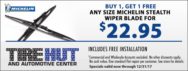 Buy 1, Get 1 FREE Any Size Michelin Stealth Wiper Blade for $22.95