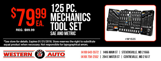 125 pc. Mechanics Tool Set Special