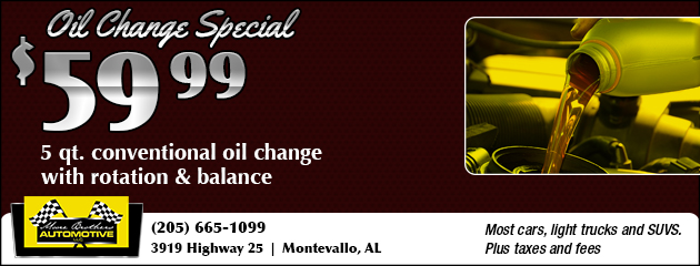 $59.99 Conventional Oil Change with Rotation and Balance