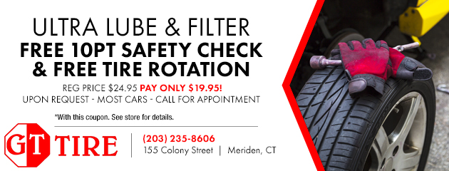 Ultra Lube Oil Filter. Free 10pt Safety Check and Free Tire Rotation