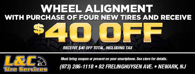 Wheel alignment with the purchase of four new tires and receive $40.00 off