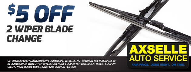 $5 Off of 2 Wiper Blade Change