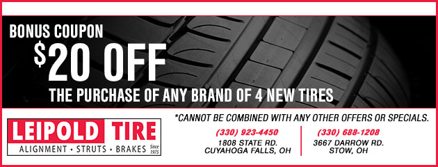 $20 Off the purchase of any brand of 4 new tires