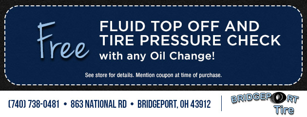 Free Fluid Top Off and Tire Pressure Check with any Oil Change!