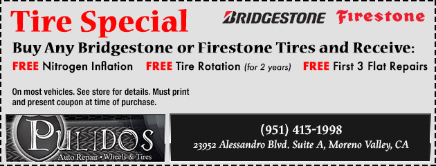 Buy 4 Bridgestone or Firestone tires, and receive!