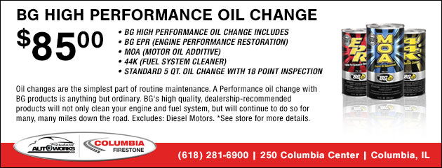 BG High Performance Oil Change - $85.00