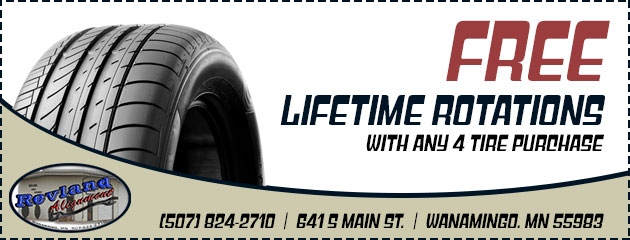 Free lifetime rotations with any 4 tire purchase