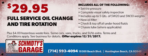 Full Service Oil Change & Tire Rotation Special