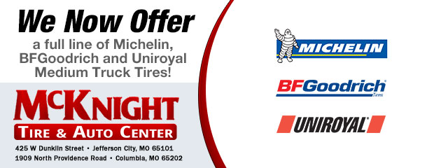 We Now Offer a full line of Michelin, BFGoodrich and Uniroyal Medium Truck Tires!