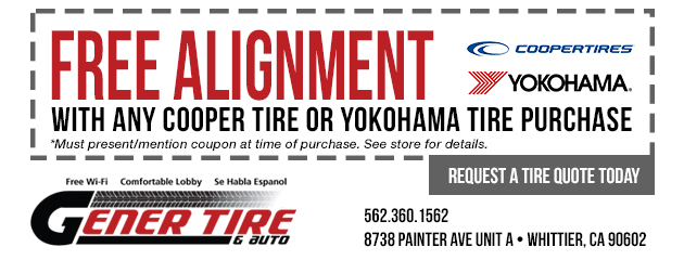 Free alignment with any Cooper Tire or Yokohama Tire purchase