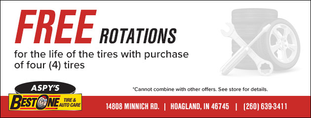 Free rotations for life of the tires with the purchase of 4 tires