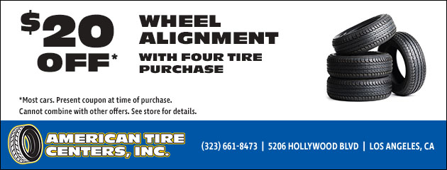 $20 Off Wheel Alignment with tire purchase