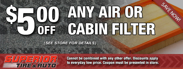 $5 Off Any Air or Cabin Filter