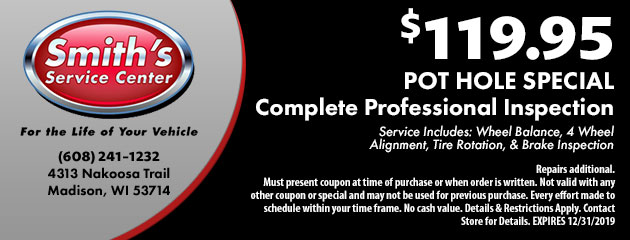 Pot Hole Special. Complete Professional Inspection $119.95