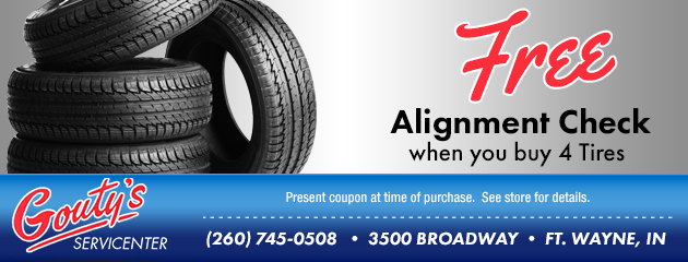Buy 4 Tires Get a FREE Alignment Check