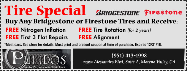 Buy 4 Bridgestone or Firestone tires, and receive these tire specials!