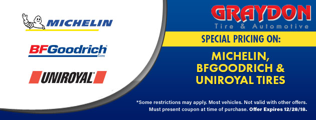 Special pricing on Michelin, BFGoodrich & Uniroyal