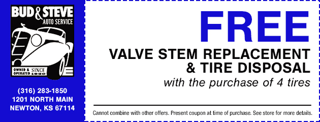 Valve Stem Replacement & Tire Disposal Special
