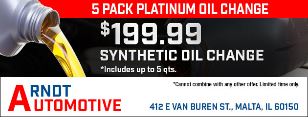 5 Pack Platinum Oil Change for $199.95