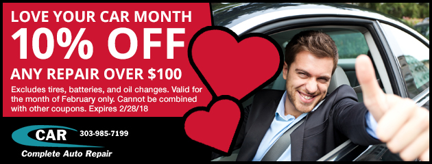 Love Your Car Month! Save 10% on any repair over $100