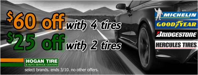 $60 Off with 4 Tires - $25 Off with 2 Tires