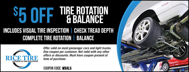 $5 OFF Tire Rotation & Balance