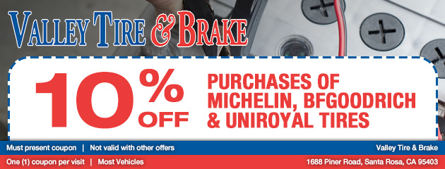 10% Off Michelin, BFGoodrich, and Uniroyal Tires