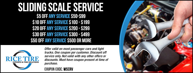 Save up to $50 with our Sliding Scale Service Special
