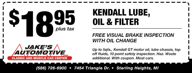 Kendall Lube, Oil and Filter Special