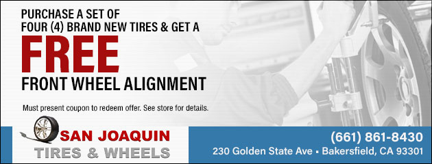 Purchase set of 4 Brand New tires and get Free Front Wheel Alignment