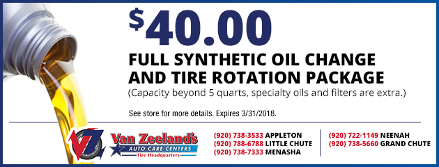 $40.00 Full Synthetic Oil Change and Tire Rotation Package