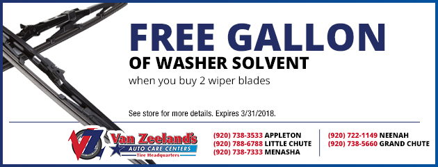 Free Gallon of Washer Solvent When You Buy 2 Wiper Blades